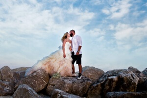 wedding photography bride and groom on the jettys-orange-beach