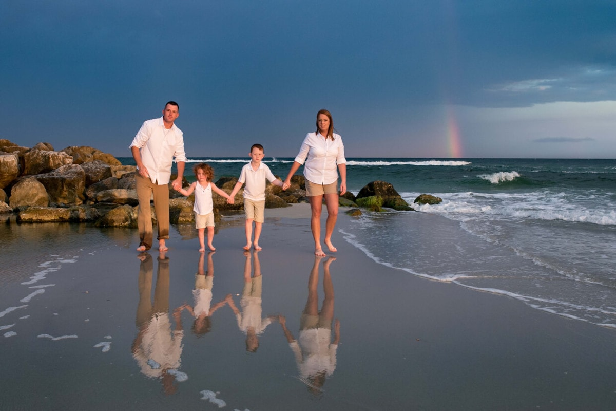 family beach photography rainbow