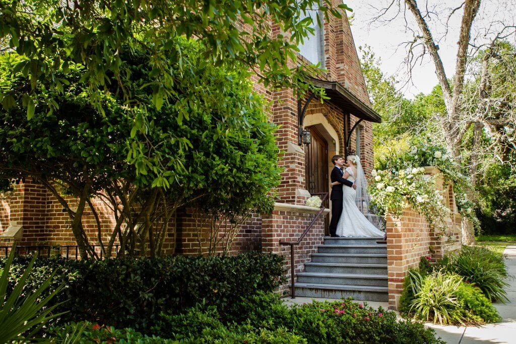 Bride and groom at Ashland place united methodist